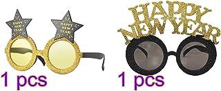 Amosfun Happy New Year Eyeglasses New Year Party Glasses Glitter New Years Eve Sunglasses Celebration Party Favor for New Year's Eve Party Supplies 4 Pcs