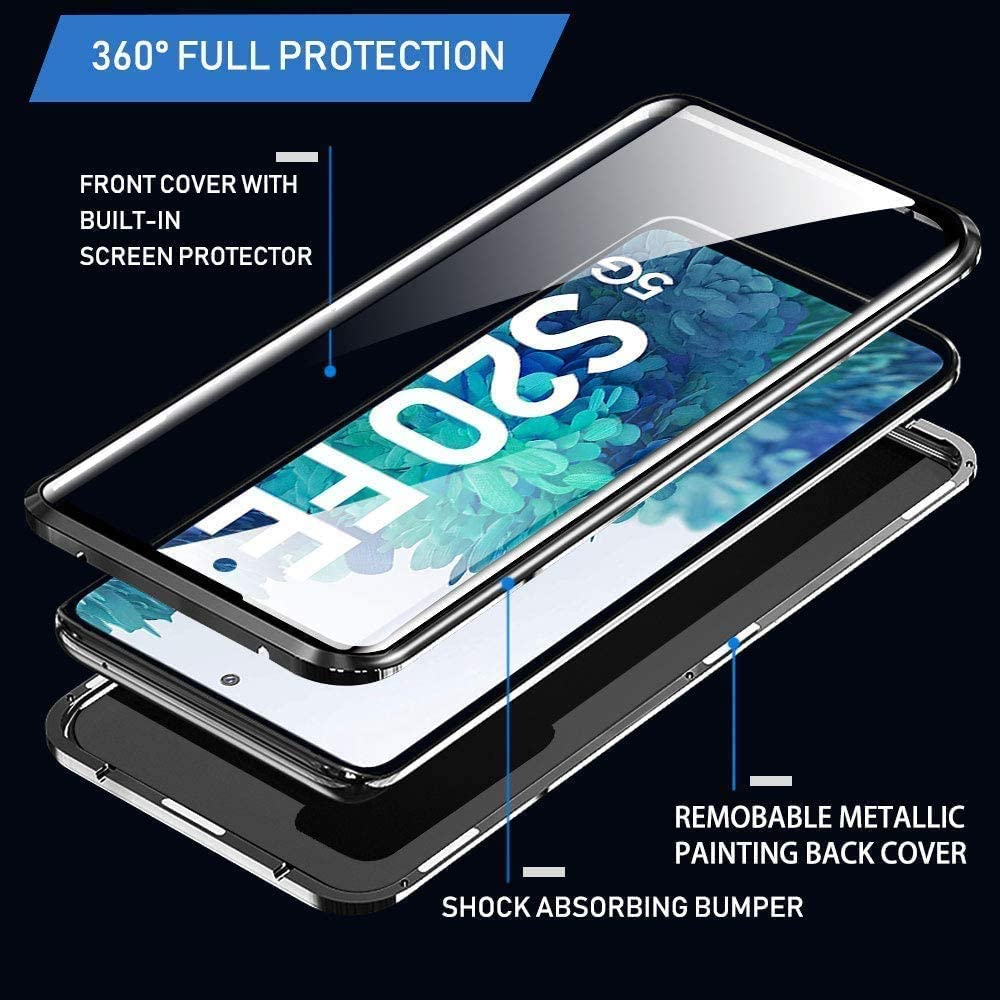 Compatible for Samsung Galaxy S20 FE Case Adsorption Magnetic Metal Bumper Cover Integrated Camera Lens Protector Transparent Tempered Glass Case 360 Degree Fully Body Protective Case,Lavender