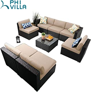 PHI VILLA Patio Furniture Set Outdoor Rattan Sectional Sofa with Tea Table (8 Piece, Beige)