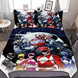 GEHIYPA POW-ER Ran-GERS Comfortable, Soft and Breathable 3 Piece Twin Bedding Set with, with Two Pillowcases and one Quilt Cover, Keep Warm Three-Piece Bedding Set