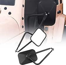 Adventure Door Hinge Mirrors Side View Shake-Proof Door Off Mirror for All Jeep Wrangler JK,JL(07-18), 2Pcs (Textured Black) (rectangle-2)