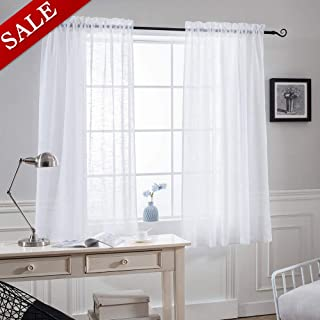 NICETOWN Faux Linen Sheer Curtains - Privacy Semitransparent Light Filtering Semi Voile Sheer Drapes for Bathroom (52 inches Width, 45 inches Length, 1 Pair, White)