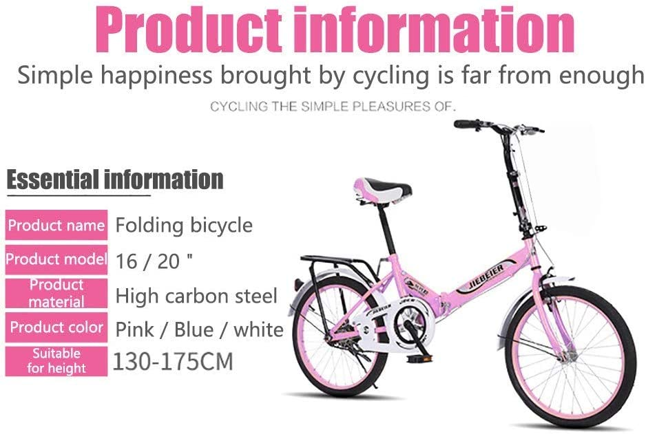 CCOOfhhc Leisure 20in Folding Bicycle City Suspension Compact Bike Tensile Steel Urban Commuters Mini Mountain Bike for Adult Men and Women Teens