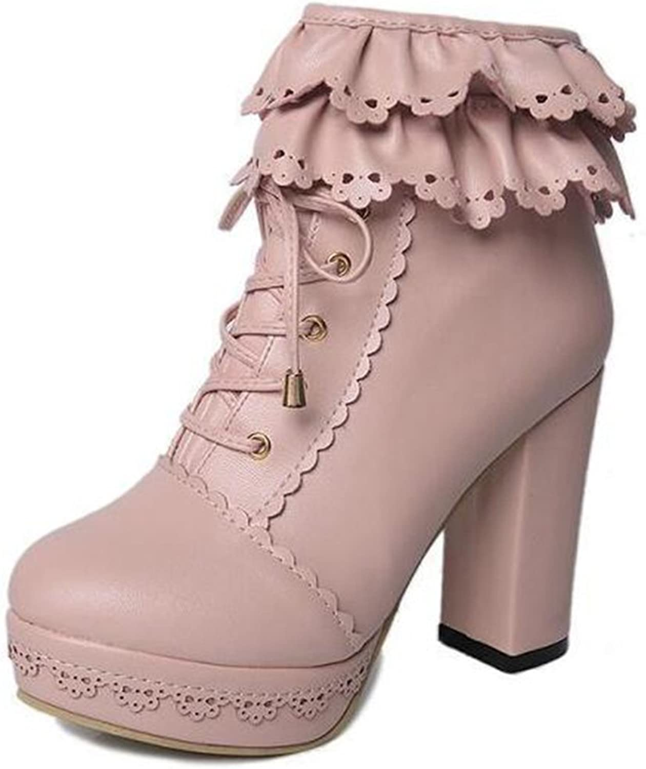 COVOYYAR Women's Lolita Platform Ankle Boots High Chunky Heel White Booties Bridal shoes