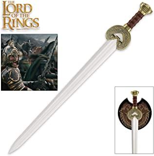 United Cutlery Lord of The Rings Herrugrim Sword of King Theoden of Rohan with Display Plaque - Brass-Plated Guard and Pommel - 27 1/2