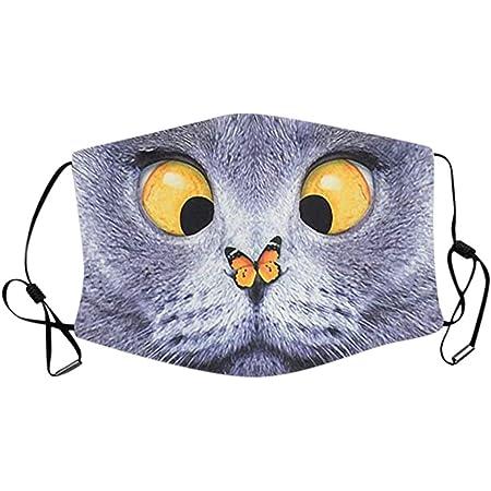 Panpany 1 St/ück Mundschutz Multifunktionstuch 3D Druck Waschbar Baumwolle Katzenmotiv Tiermotiv Mund und Nasenschutz Face Halstuch Schals,2 St/ück Filter