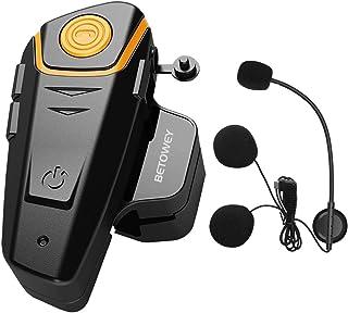 1x BT S2 Intercomunicador Casco Moto, BETOWEY 1000m Bluetooth Headset Motorcycle Intercom Manos Libres Moto Auriculares (P...