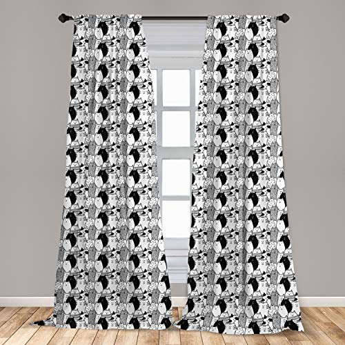 """Ambesonne Cat Curtains 2 Panel Set, Monochrome Pattern with Hand Drawn Style Animal Characters Different Mascots, Lightweight Window Treatment Living Room Bedroom Decor, 56"""" x 63"""", White Charcoal"""