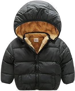 Baby Boys Girls Winter Puffer Coat Unisex Kids Fleece Lined Jacket Hoodies Warm Outwear Overcoat
