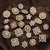 Lucky Monet Lot 24Pcs Mixed Rhinestone Crystal Brooch Alloy Gold Vintage Assorted Brooch Pins Set for Wedding Bouquet Party Gift Craft DIY