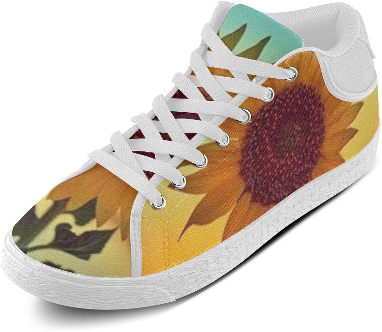 CERLYRUAN Sun Flower Canvas Chukka Canvas Women's shoes White