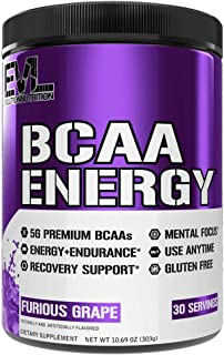 Evlution Nutrition BCAA Energy - Essential BCAA Amino Acids, Vitamin C & Natural Energizers for Performance, Immune Support, Muscle Building, Recovery, B Vitamins, Pre Workout, 30 Serve, Furious Grape