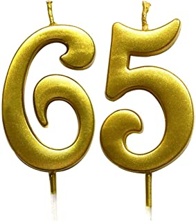 MAGJUCHE Gold 65th Birthday Numeral Candle, Number 65 Cake Topper Candles Party Decoration for Women or Men