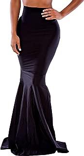 Women Black High Waist Bodycon Mermaid Floor-Length Maxi Skirt