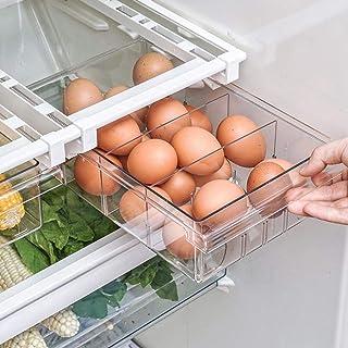 Bac de rangement pour réfrigérateur, organisateur de tiroir coulissant pour réfrigérateur, boîte de rangement à support tr...