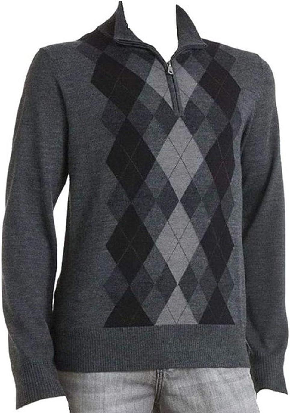 Liz Claiborne's Apt 9 Argyle 1/4 Zip Sweater Merino Wool Blend Sizes Big & Tall Grey