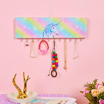 QtGirl Jewelry Organizer Holder for Girls Room, Wall Necklace Bracelet Hanger Girls Room Decor with Hooks Wall Mounte...