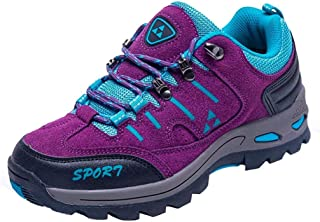 Men and Ladies Couple Outdoor Casual Lace-up Comfortable Running Mountaineering Shoes (Color : Purple, Size : 3 UK)