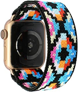 Tefeca Geometry Pattern Elastic Compatible/Replacement Band for Apple Watch 38mm 40mm 42mm 44mm (Gold Adapter for 38mm/40mm Apple Watch, Wrist Size : 6.5-6.9 inch (L3))