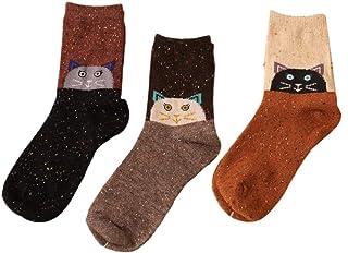 ZOOMY, ZOOMY 3 par/Set Calcetines con Estampado de Animales de Dibujos Animados Calcetines Cortos de Lana de Corte bajo para Hombres y Mujeres Suministros - 2# Gato
