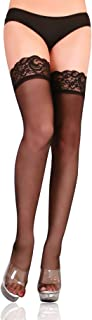 Womens Sexy High Stretch Thigh High Socks Lace Top Silky Semi Sheer Pantyhose Socks