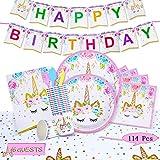Set de Fiesta de Unicornio,Decoracionescumpleaños Unicornio,Decoración de Fiesta de Unicornio,Kit de Vajilla de Cumpleaños de Unicornio,Conjunto de Fiesta de Cumpleaños (Unicornio)