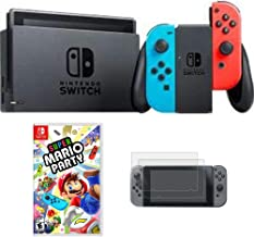 Nintendo Switch 32 GB Console with Neon Blue and Red Joy-Con (HACSKABAA) with Super Mario Party for Switch & Tempered Glass Screen Protector Switch 2017 (2-Pack)