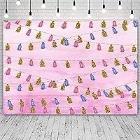 背景布 誕生日パーティーのピンクのポンポンの背景出生前のパーティーの女の子新生児の写真バナーフォトセッションの写真スタジオの装飾-180x250CM