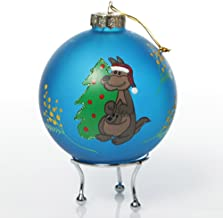 The Christmas Cart Personalised Frosted Blue Australiana Kangaroo Christmas Bauble | Customised Christmas Tree Decoration ...