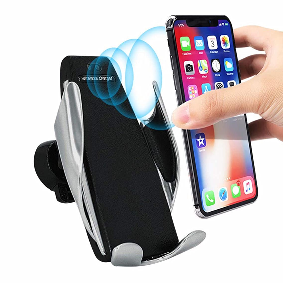 Wireless Fast Car Charger Mount with Infrared Sensor, 7.5W / 10W Auto-Clamping Dashboard & Vent, One-Touch Phone Holder Compatible iPhone Xs MAX/XR/XS/X/8/8 Plus, Samsung Galaxy Note 9/S9/S9 Plus/S8