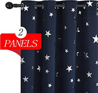 Estelar Textiler Blackout Window Curtains 63 Inch Length Thermal Insulated Curtains for Kids Bedroom 38W×63L Navy Blue 2 Panels