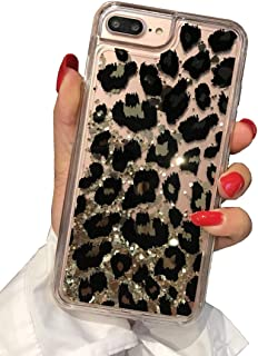Losin Leopard Case Compatible with Apple iPhone 6 / iPhone 6S 4.7 Inch Ultra Thin Fashion Luxury Sparkling Liquid Quicksand Glitter Sequin Lovely Leopard Pattern Soft TPU + Hard PC Back Case