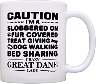 Dog Lover Gifts for Women Crazy Great Dane Lady Dog Mom Dog Owner Gift Coffee Mug Tea Cup White