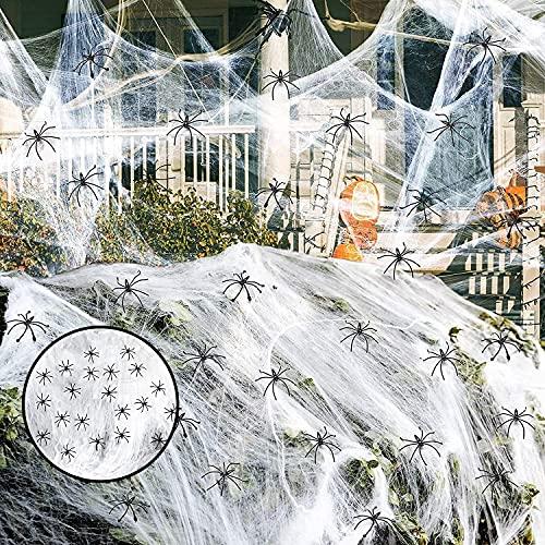 LessMo 240g Halloween Tela Araña, Telaraña Blanca Decor con 30 Arañas Falsas Adicionales, Gran Tamaño Cubierta1000 Pies Cuadrados, Súper Elásticas Telarañas Accesorios de Casa Embrujada En Halloween