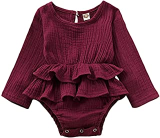 Weixinbuy Toddler Baby Girls Clothes Solid Color Round Collar Long Sleeve Ruffled Romper Outfits 0-18 Months