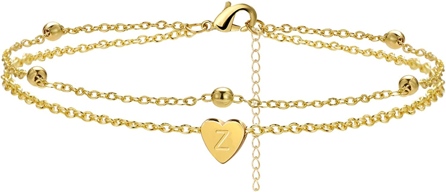 Initial Anklet Bracelets for Women Layered Dainty Beads Heart Max 56% OFF Miami Mall Le
