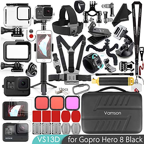 Vamson 64 in 1 Accessories Kit for GoPro Hero 8 Black Waterproof Housing Case Filter Silicone Protector Frame Lens Screen Tempered Glass Head Chest Strap Bike Car Mount Floating Bundle Set Kit AVS13