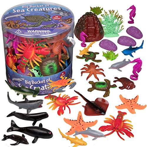 SCS Direct Ocean Sea Creature Action Figures - 30 Pieces 18 Unique Sculpts- Giant Ocean Animal Toys Playset
