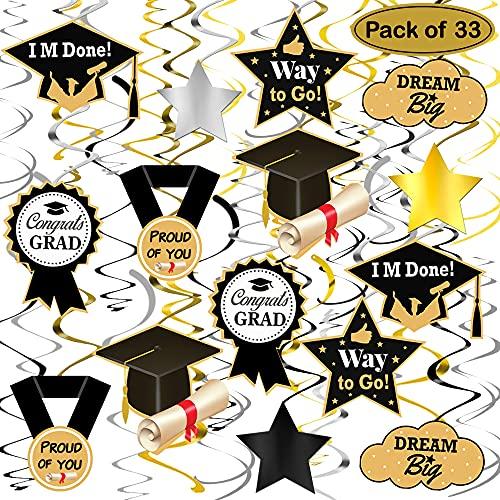 Graduation Hanging Decorations 2021 - Big Pack of 33 Graduation Hanging Swirls | High School Graduation 2021 Decorations | Black and Silver Graduation Decorations Car Decorations for Graduation Parade