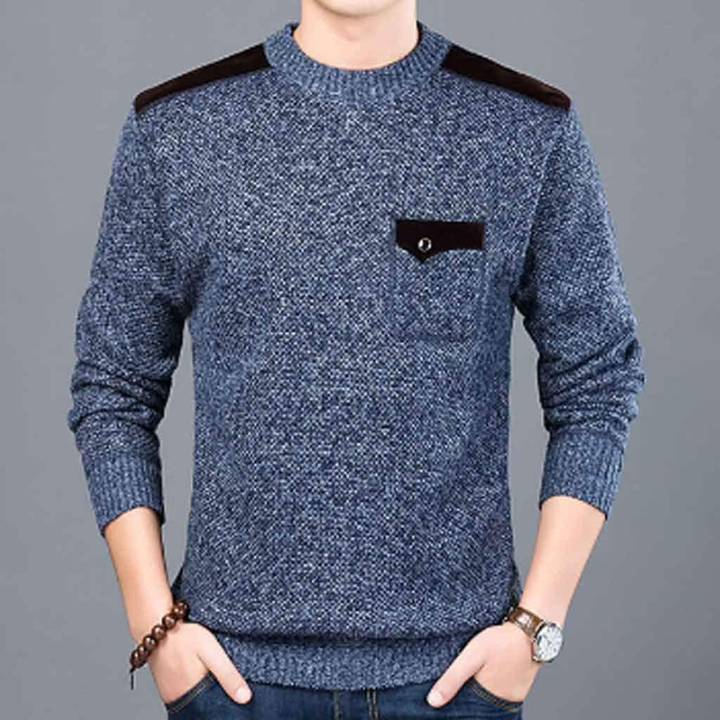 ZYING Brand Sweater for Mens Pullovers Slim Fit Jumpers Knitwear Neck Autumn Korean Style Casual Clothing Male (Color : Style 3)