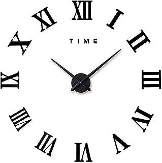Aischens DIY Horloge Murale 3D Moderne,Grand Pendule Murale Chiffres Romains Big Montre Stickers 3D Horloge Montre Murale ...