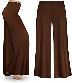 Sanctuarie Designs Brown Poly/Cotton Jersey Knit Wide Leg Plus Size Supersize Palazzo Pants