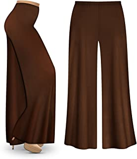 Sanctuarie Designs Brown Poly/Cotton Jersey Knit Wide Leg Plus Size Supersize Palazzo Pants