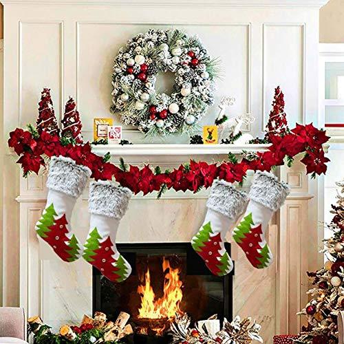XGXQBS 4 stuks kerstkousen, 17,7 inch Kerstmis open haard hangende kousen voor kerstversiering, burlap kerstkousen voor cadeau, DIY vaardigheid