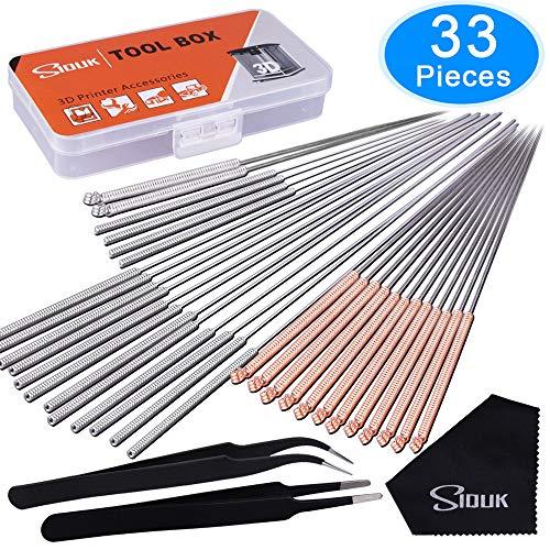SIQUK 33 Pièces Aiguilles de Nettoyage 0.15mm, 0.25mm, 0.35mm, 0.4mm, 0.5mm Kit de Nettoyage de Buses pour Imprimante 3D(Bonus: 2 Pièces pinces et 1 Pièces chiffon de nettoyage)
