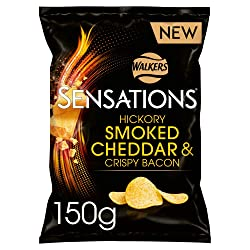 Sensations Hickory Smoked Cheese and Bacon Sharing Crisps, 150 g