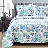 3 Piece Bedspreads Coverlet Set King Size Ocean Theme,Lightweight Reversible Beach Quilts Set Seashell Conch Starfish,Ocean Creature Bedding Cover