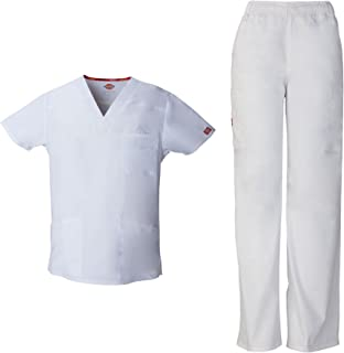 EDS Signature Men's Scrub Set - 81906 V-Neck Top & 81006 Zip Fly Pull-On Pant