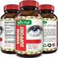 Lutein Eye Support Supplement - Advanced Vision Support Vitamin - #1 Antioxidant to Keep Eyes Strong & Vision Clear – Improve Ocular Health with Pure Zinc & Bilberry for Women & Men