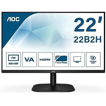 AOC 22B2H - Monitor para PC de 22 pulgadas Full HD 75Hz 1920x1080, VA, Mega Infinity DCR, Flickerfree, LowBlue Light, VESA, D - SUB, HDMI, Negro: Amazon.es: Informática